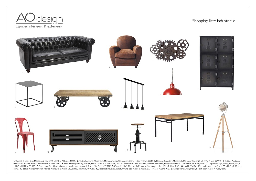 Shopping liste industrielle AO design