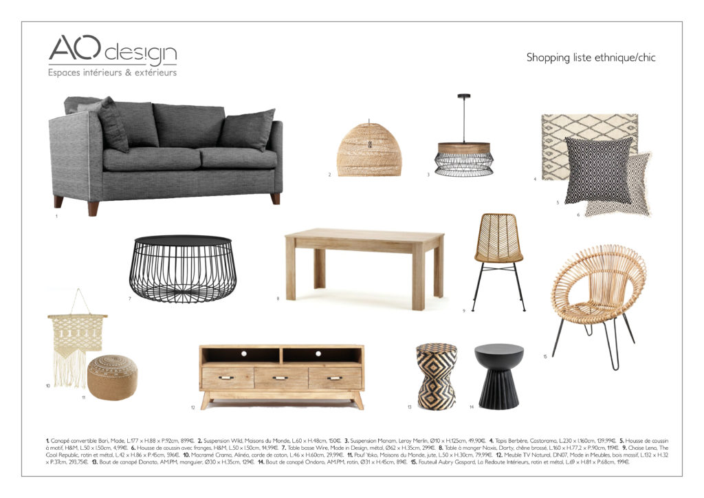 Shopping liste ethnique chic AO design