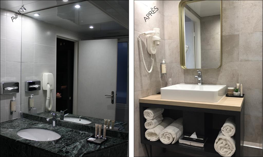 salle de bain avant-après hôtel