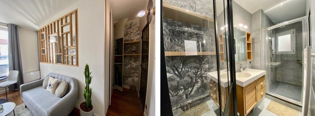 accès salle de bain studio Paris 4