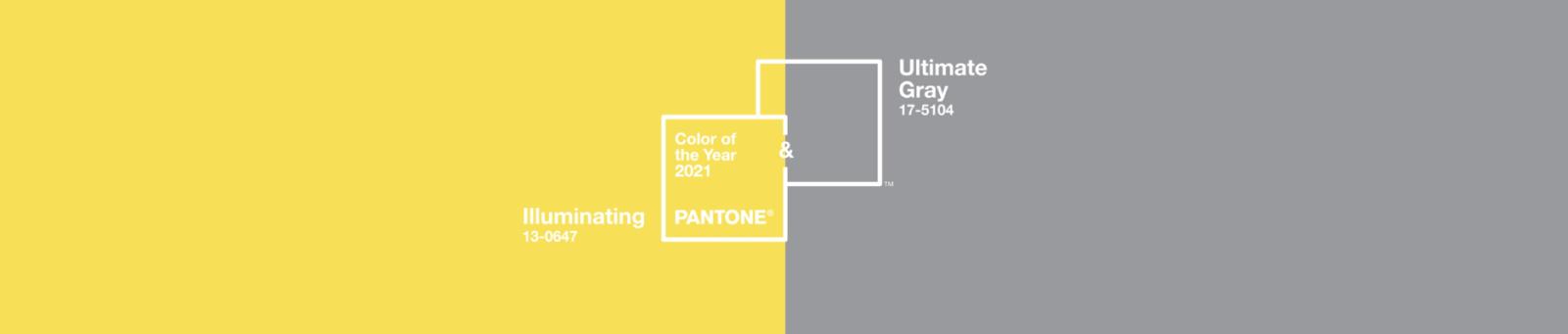 cover couleurs année 2021 : jaune illuminating et gris Ultimate Gray