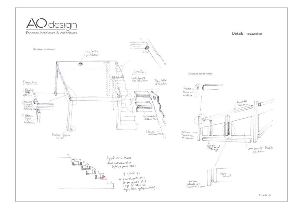 conception meuble sur-mesure étape croquis